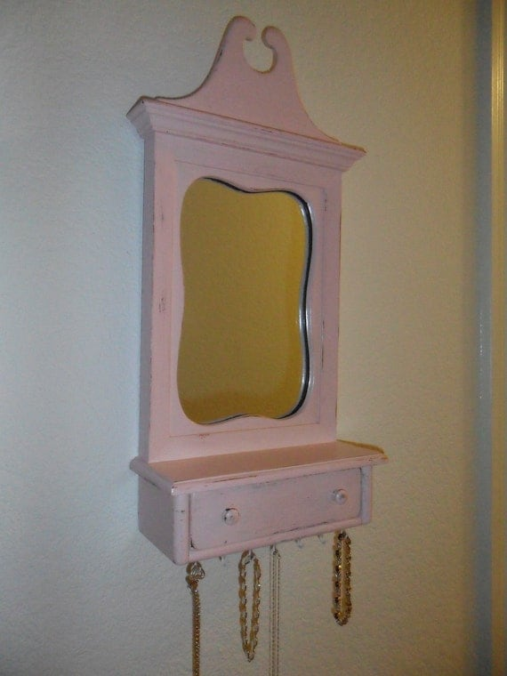 Upcycled Shabby Chic Pink Mirror with Drawer and Jewelry Hooks