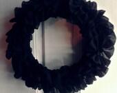 Modern Black Frilly Wreath