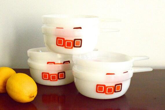 Crown Pyrex: set of six handled ramekins with red/orange/maroon square design