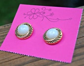 Vintage Inspired White and Gold Stud Earrings (2 styles, you choose)