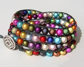 Wrap bracelet with multicolored miracle glass beads
