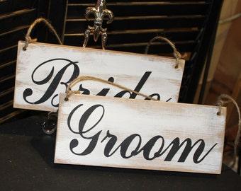 BRIDE GROOM Wedding Chair Signs/Photo Prop/U Choose Colors/Great Shower Gift/Rustic/Beach/Vineyard/Woodland