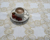Placemats SET of 4 place mats white golden flower pattern , great GIFT