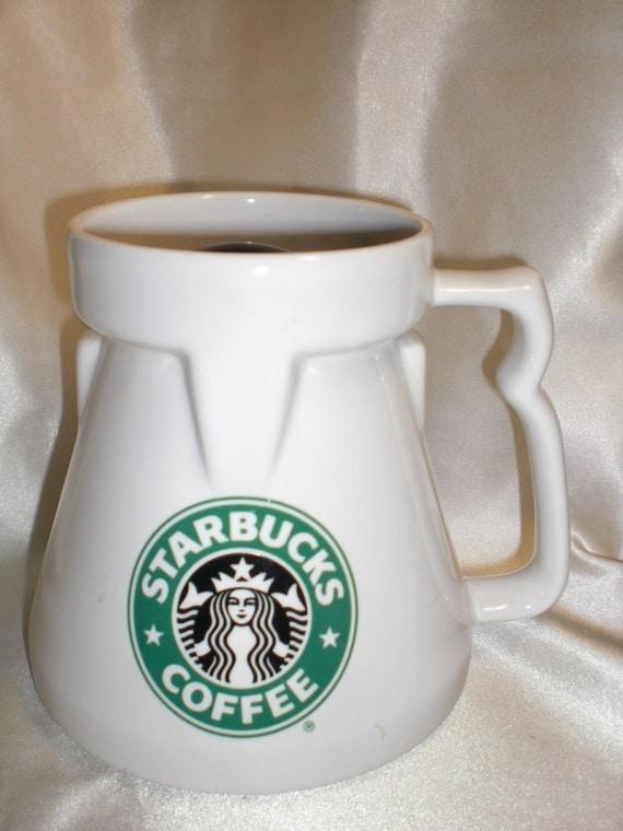 Starbucks Chubby Travel Mug White Ceramic Old Siren Logo W Lid
