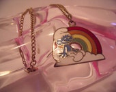 RESERVED for  Lizik - Smurf with Rainbow Enamel Charm and Chain Necklace