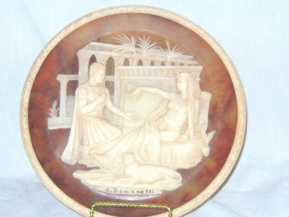 Antony and Cleopatra CAMEO COLLECTOR PLATE Hand crafted Stone Vintage Love Story Romance