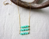 Mint Beaded Necklace with Triple Ladder