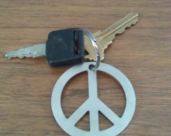 PEACE  keychain  -- made from reclaimed 321 stainless
