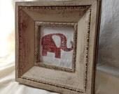 Elephant Print on Hopsack/ Burlap