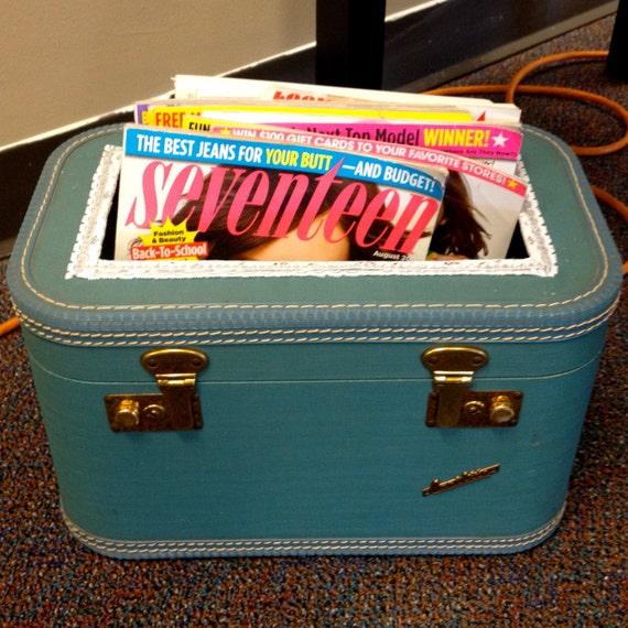 RESERVED Suitcase Magazine Rack