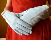 vintage ladies small powder blue gloves with lace inset and bow wrist length