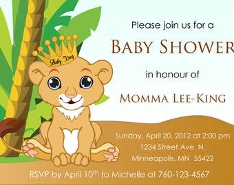 Baby Lion King Baby Shower Invitation   DIGITAL IMAGE