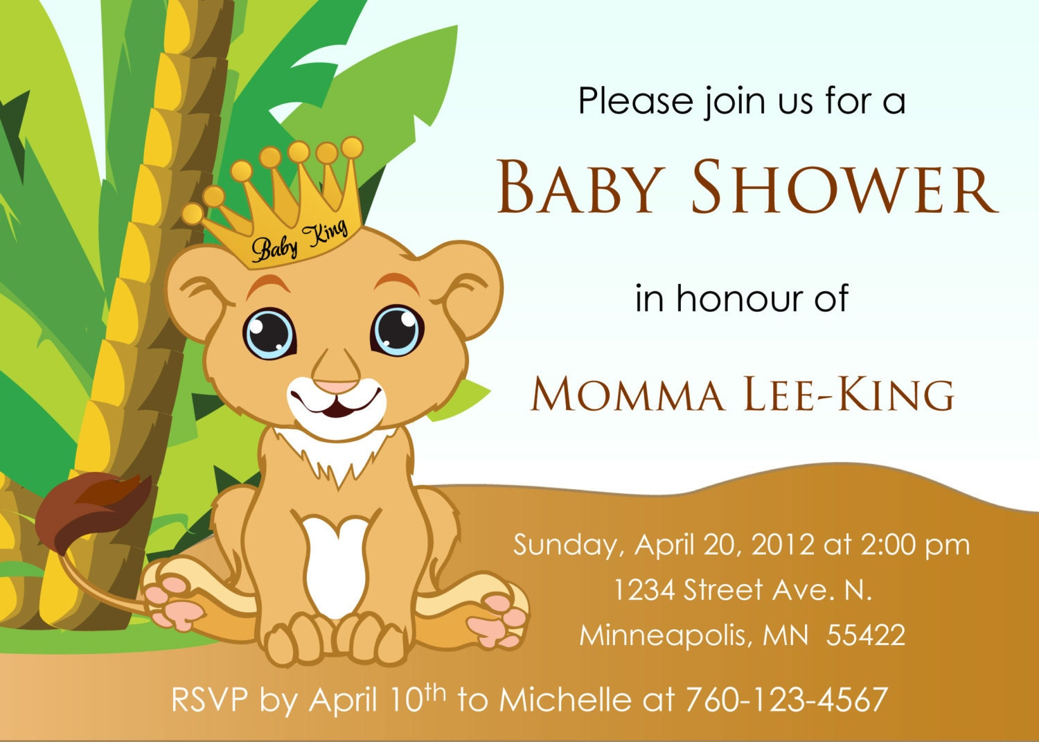 baby lion king baby shower invitation digital image