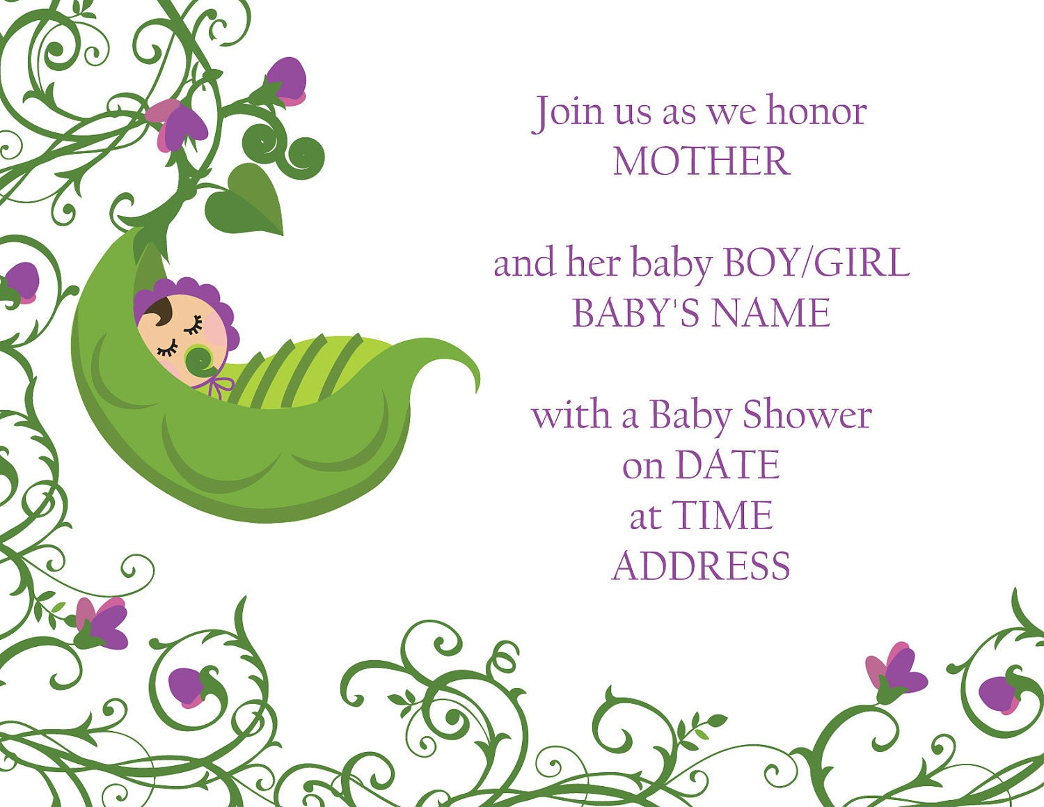 sweet pea baby sweet pea baby shower invitation by designsbyoccasion