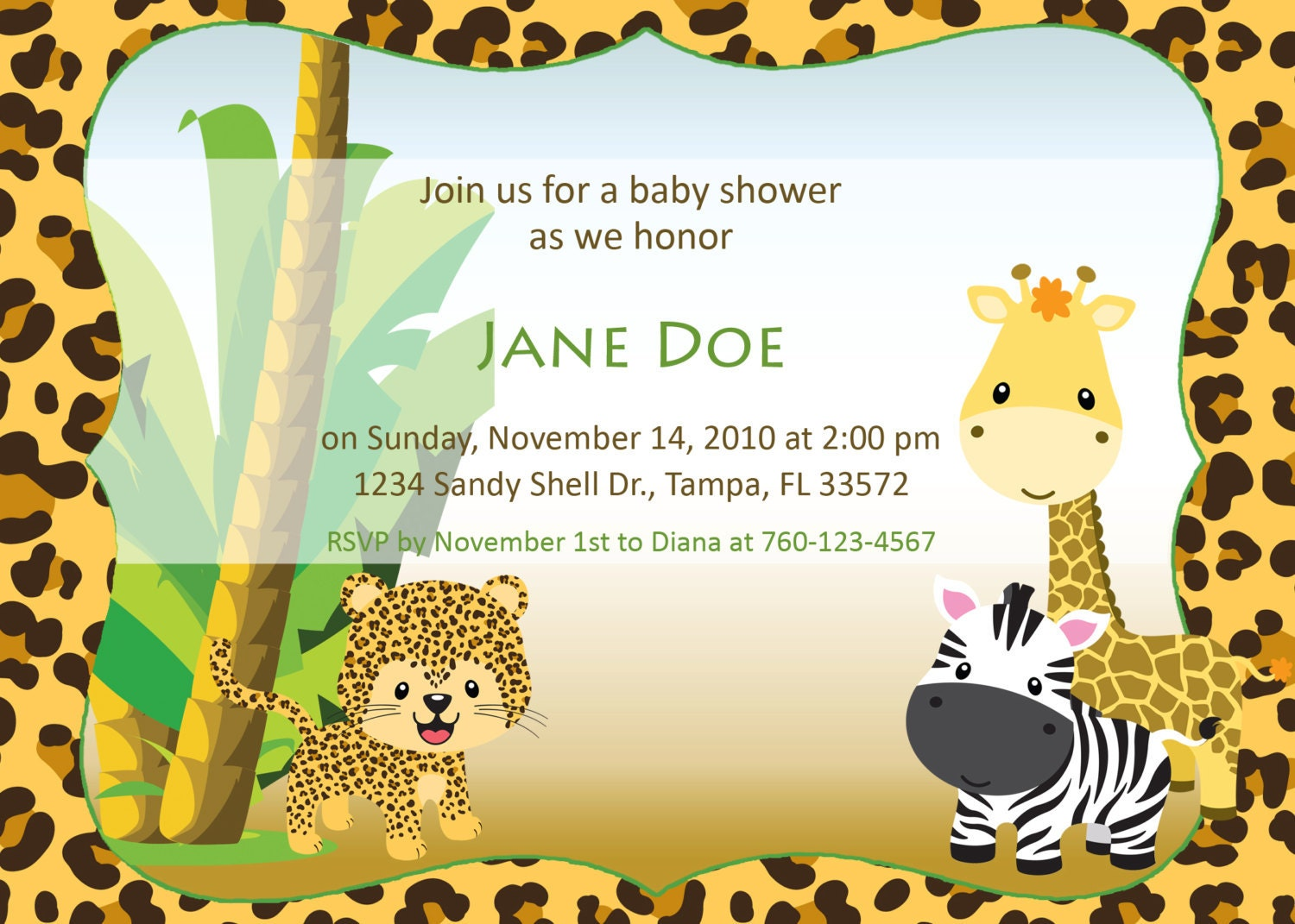 baby jungle baby shower invitation