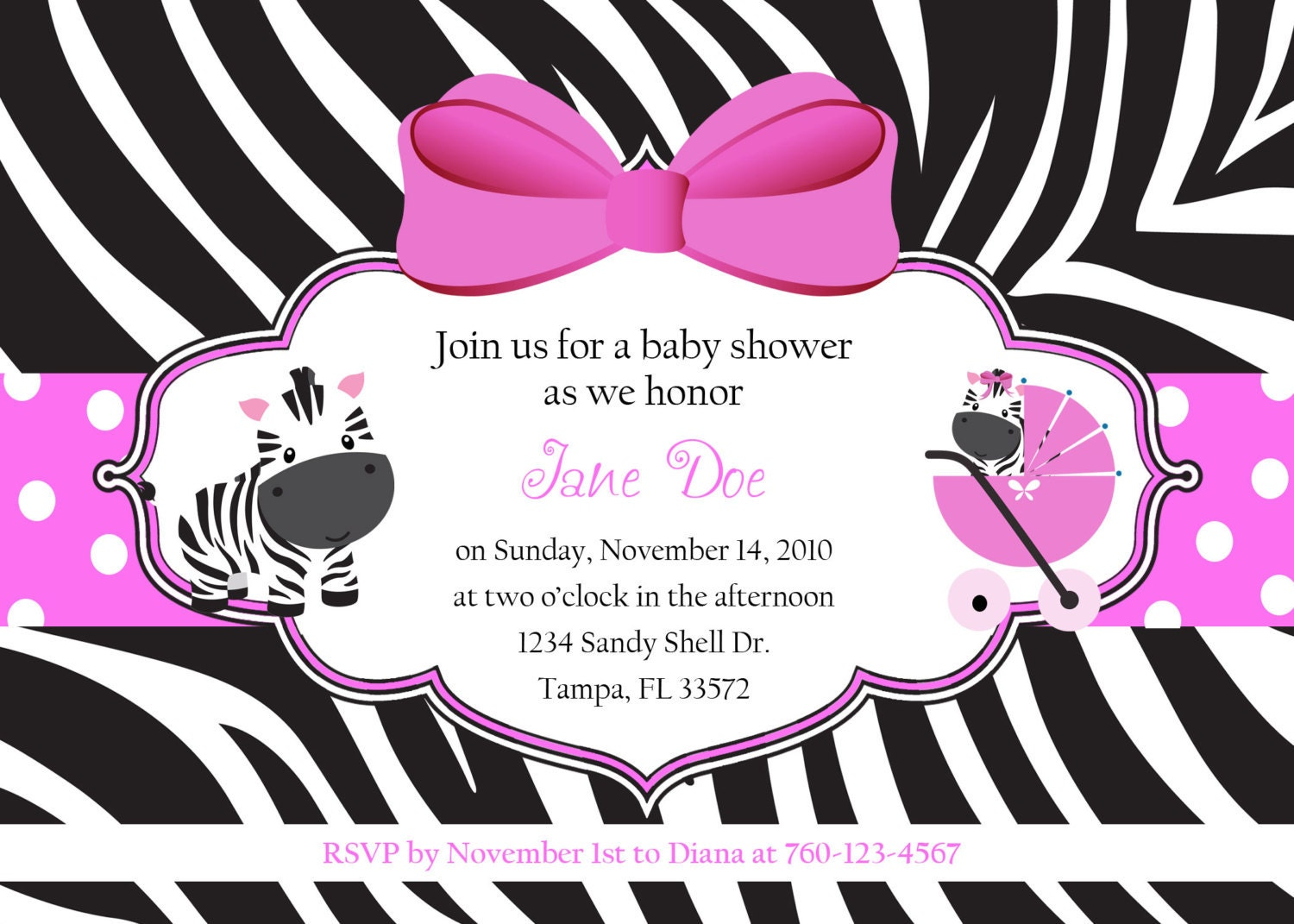 zebra baby shower invitation digital image