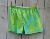 Tie Dye Green Blue and Yellow Boxer Shorts Adult Large
