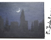 Midnight Cityscape - Original acrylic on canvas painting - dark city skyline art - 8in x 10in
