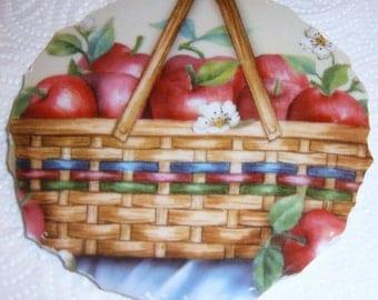 Broken China Mosaic Focal , Hand Cut Mosaic Tiles, Mosaic Supplies, Apples, Apple Basket
