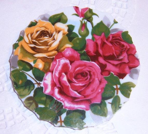 Mosaic  Broken China Focal,  Roses, Yellow, Red Roses, Mosaic Supplies, Vintage, Porcelain Plate
