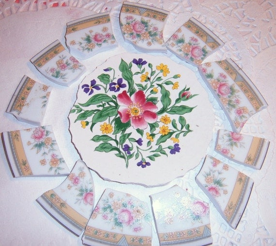 Broken China Focal, Mosaic Supplies, Broken China Tiles, Hand Cut China Tiles
