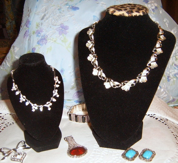 Jewelry Display Bust,3-D, Necklace Display,Small, Black Velvet,  Animal Print,