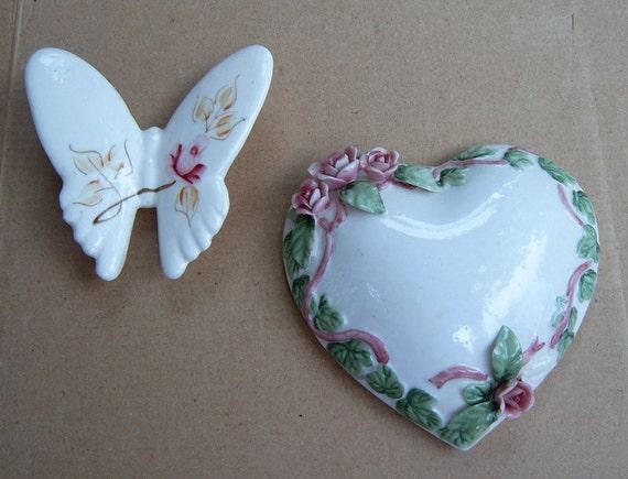 50% OFF  Broken China Mosaic, Mosaic Supplies,,,, Ceramic Heart, Ceramic Butterfly, Mosaic Porcelain Roses