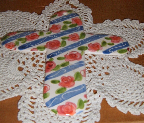 Take 40% Off, Mosaic Supplies, Ceramic Cross Mosaic Focal, Roses,  Wall Hanging, Ceramic Cross