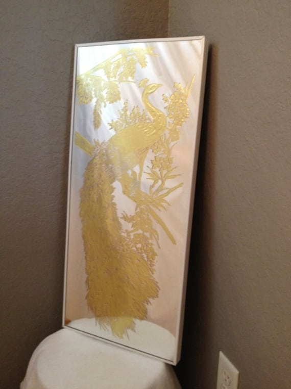 Vintage Etched Mirror Gold Inlay Peacock Hollywood Regency