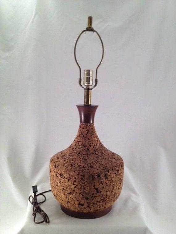Vintage Cork lamp mid century