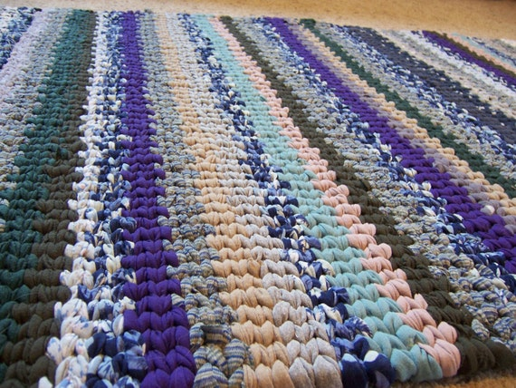 Hand Woven Area Rag Rug Stripe Traditional Loom Twined