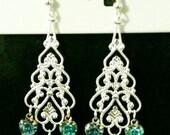 Triple Blue Swarovski Heart Sterling Silver Chandelier Earrings