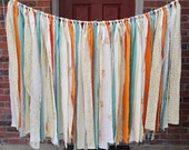 Fabric Banner - Shabby Chic Rag Garland, Photo Prop, Party Decor