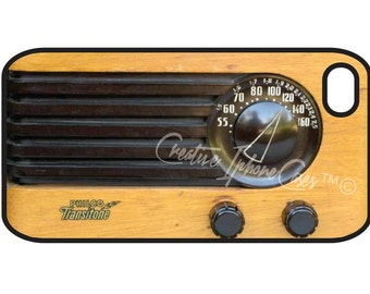 Retro Vintage Old Wood Radio Iphone 4 / 4S Case Cover fits Verizon, AT&T, and Sprint