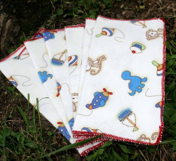 1 Day SALE - Set of 6 Flannel Baby Wipes - Monkey Toys