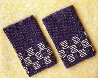 Purple beaded wrist warmers