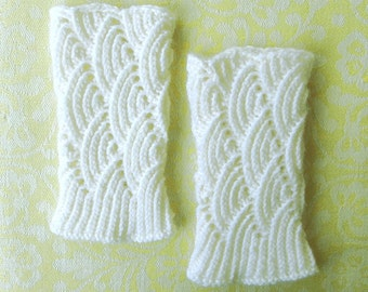 White lace wrist warmers