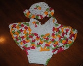 Crocheted Baby Shirt, Diaper Cover, and Hat