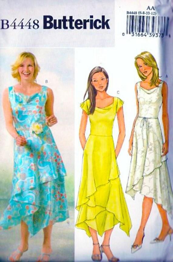 Butterick 4448 cowl neck handkerchief hem dress by for Cowl neck wedding dress pattern