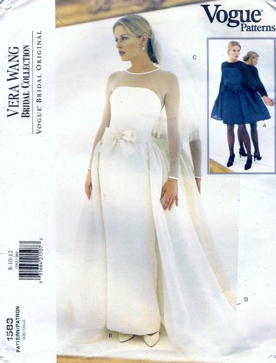 Vogue 1538 Vera Wang Designer Bridal Wedding Dress Sewing Pattern Sz 6-10 Bust 30.5-32.5