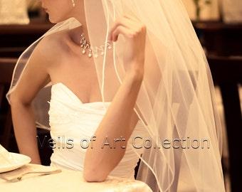 """2T Fingertip Bridal Wedding Veil 1/8"""" Satin Cord Trim VE204 white, ivory NEW CUSTOM VEIL"""