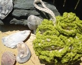 100% Cotton Natural Bath Puff Loofah - Hand Crocheted, Eco Friendly - Chartreuse
