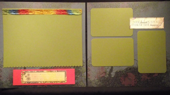Premade 12x12 Romantic Scrapbook Pages
