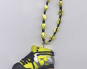 Roller Derby, roller skate ornament, decoration - Yellow, black and metallic silver
