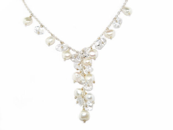 "White Baroque Freshwater Pearl And Crystal Chips ""Y"" Necklace In Sterling Silver, 16"""