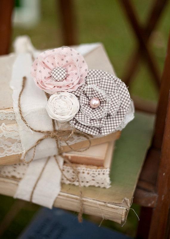 Pink, brown and cream fabric flower headband