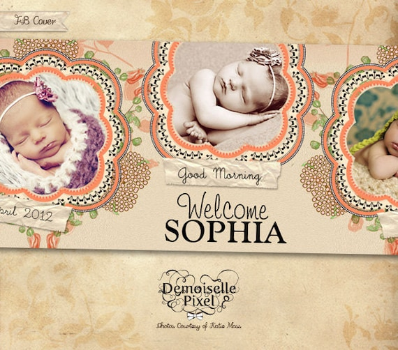Facebook Timeline Cover Template for Birth Announcement and Photography Studios