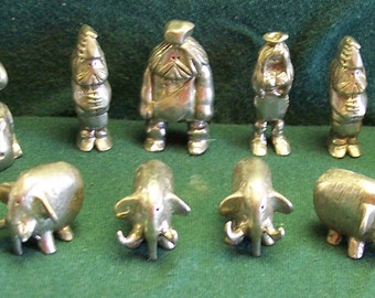 Caveman Chess Set, Handmade, Bright Silvery Color, Pewter Gray Color, NO BOARD