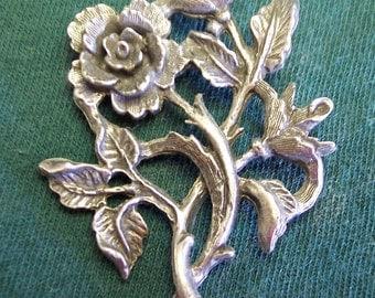 Rose Vines, Lead Free, Nickel Free, Clutch Back Pin, Handmade, Vintage