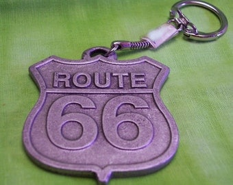 Route 66 Key Chain, Handmade, Nickel Free, Lead Free Pewter